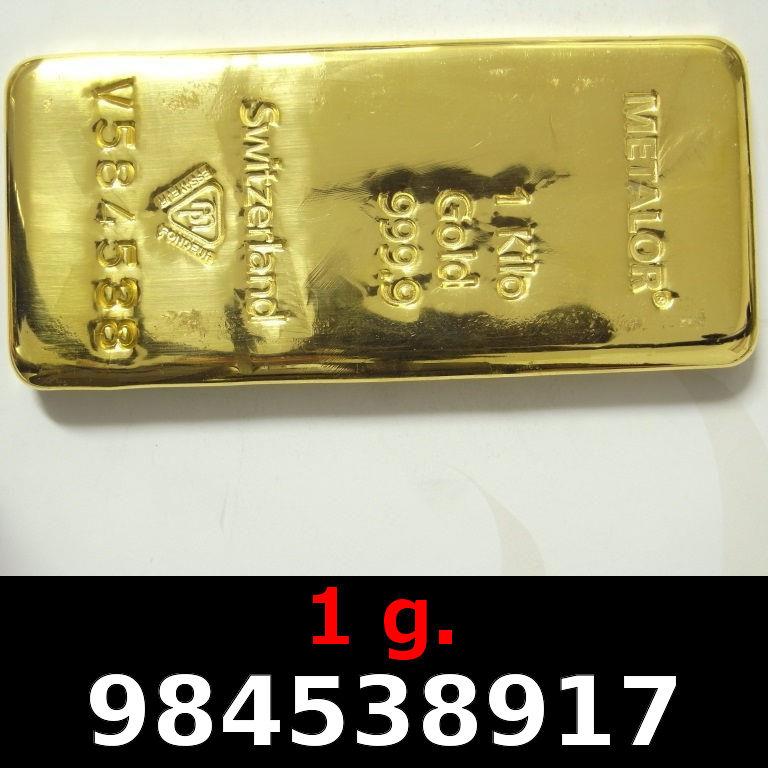 Réf. 984538917 1 gramme d\'or pur (Lingot LSP)  Issu d un lingot good delivery de 1 kilo - AVERS
