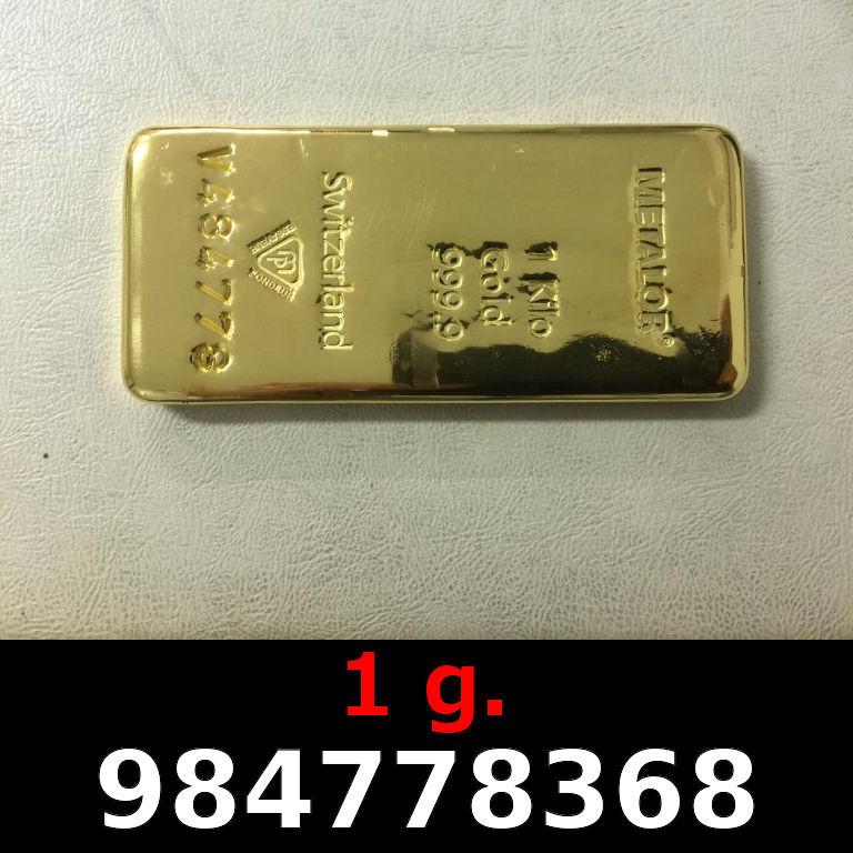 Réf. 984778368 1 gramme d\'or pur (Lingot LSP)  Issu d un lingot good delivery de 1 kilo - AVERS
