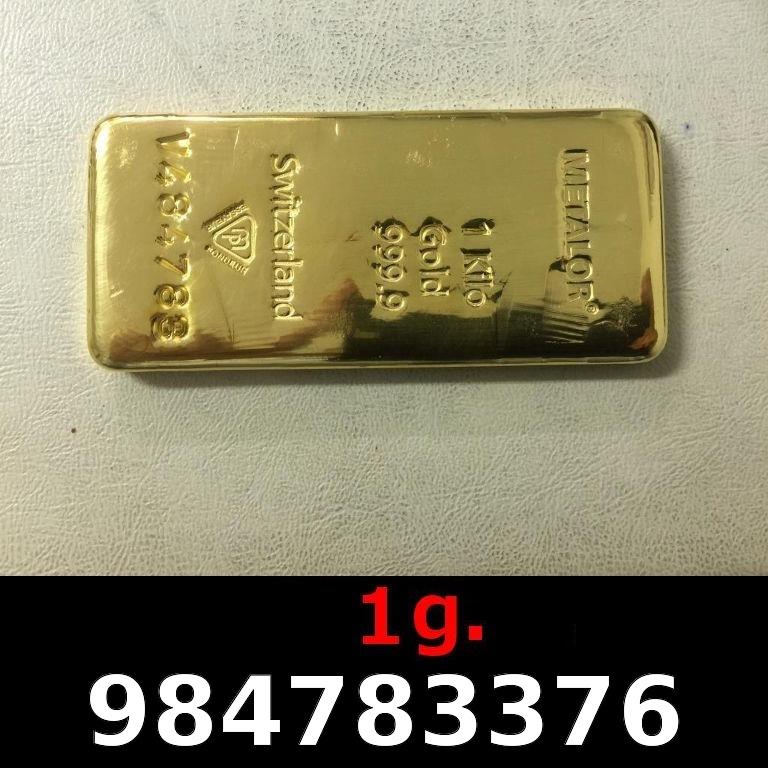 Réf. 984783376 1 gramme d\'or pur (Lingot LSP)  Issu d un lingot good delivery de 1 kilo - AVERS
