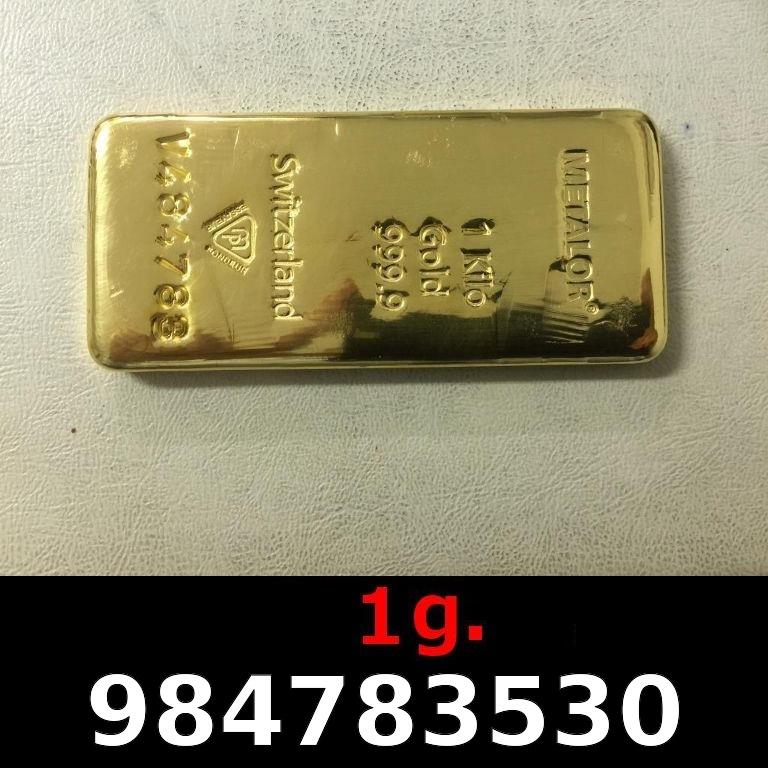 Réf. 984783530 1 gramme d\'or pur (Lingot LSP)  Issu d un lingot good delivery de 1 kilo - AVERS
