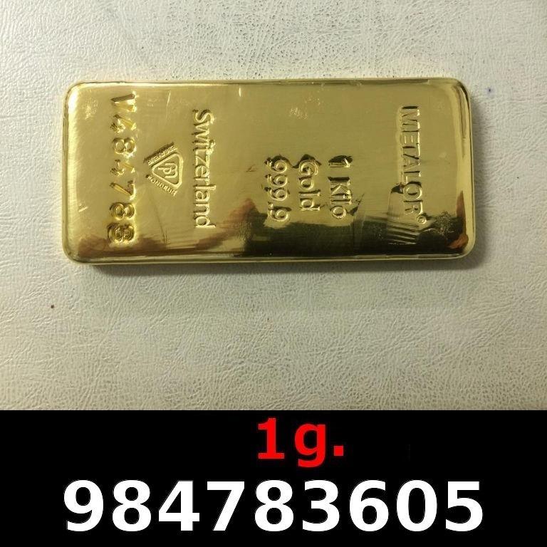 Réf. 984783605 1 gramme d\'or pur (Lingot LSP)  Issu d un lingot good delivery de 1 kilo - AVERS
