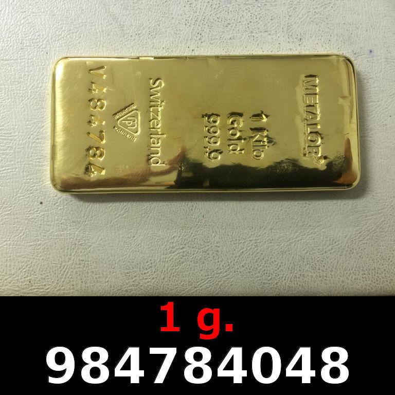 Réf. 984784048 1 gramme d\'or pur (Lingot LSP)  Issu d un lingot good delivery de 1 kilo - AVERS