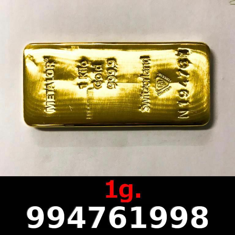 Réf. 994761998 1 gramme d\'or pur (Lingot LSP)  Issu d un lingot good delivery de 1 kilo - AVERS