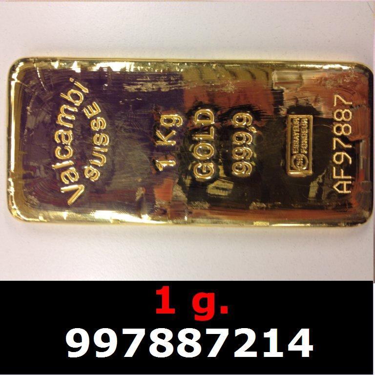Réf. 997887214 1 gramme d\'or pur (Lingot LSP)  Issu d un lingot good delivery de 1 kilo - AVERS