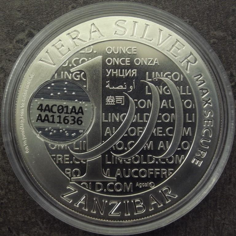 Réf. AAA11636 Vera Silver 1 once (Cours Légal - 40MM)  Zanzibar 1000 Shillings MaxSecure - AVERS