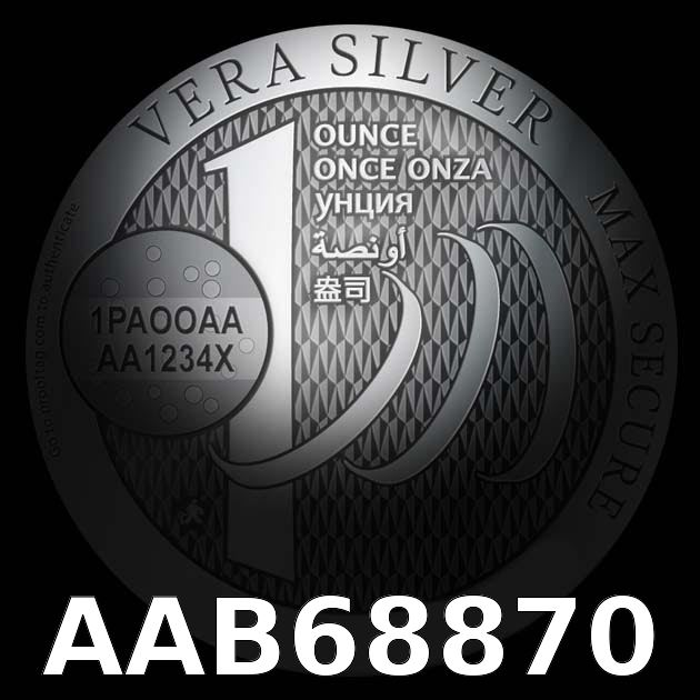 Réf. AAB68870 Vera Silver 1 once (Cours Légal - NON LSP)  Gibraltar - AVERS