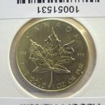 Réf. 10051531 Maple Leaf 1 once 50 Dollars Canada Elizabeth II Jeune - 999 - REVERS