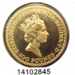 Britannia 1 once 100 Pounds Elizabeth II et Britannia debout (1987-1989)