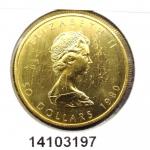 Maple Leaf 1 once - 50 Dollars   Elizabeth II Jeune - 999