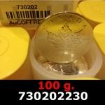 Réf. 730202230 100 grammes d\'argent pur - Maple Leaf (LSP)  Issu d un lot de 1000 pièces d une once - REVERS