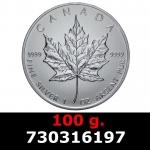 Réf. 730316197 100 grammes d\'argent pur - Maple Leaf (LSP)  Issu d un lot de 1000 pièces d une once - REVERS