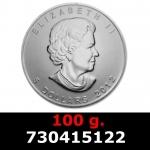 100 grammes d'argent pur - Maple Leaf (LSP)  Issu d un lot de 1000 pièces d une once
