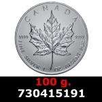 Réf. 730415191 100 grammes d\'argent pur - Maple Leaf (LSP)  Issu d un lot de 1000 pièces d une once - REVERS