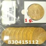Réf. 830415112 1 gramme d\'or pur - 50 Pesos Mexique (LSP)  Issu d un lot de x10 50 Pesos - REVERS