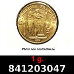 Réf. 841203047 1 gramme d\'or pur - Napoléon (LSP) 20 Francs Issu d un lot de 100 Génie IIIème République - REVERS