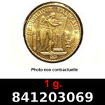 Réf. 841203069 1 gramme d\'or pur - Napoléon (LSP) 20 Francs Issu d un lot de 100 Génie IIIème République - REVERS