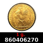 Réf. 860406270 1 gramme d\'or pur - Napoléon (LSP) 20 Francs Issu d un lot de 100 Mariannes Coq - REVERS
