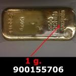 Réf. 900155706 1 gramme d\'or pur (Lingot LSP)  Issu d un lingot good delivery de 1 kilo - REVERS