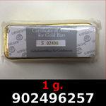 Réf. 902496257 1 gramme d\'or pur (Lingot LSP)  Issu d un lingot good delivery de 1 kilo - REVERS