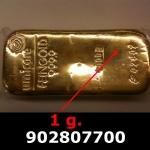 Réf. 902807700 1 gramme d\'or pur (Lingot LSP)  Issu d un lingot good delivery de 1 kilo - REVERS