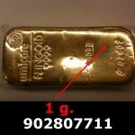 Réf. 902807711 1 gramme d\'or pur (Lingot LSP)  Issu d un lingot good delivery de 1 kilo - REVERS