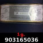 Réf. 903165036 1 gramme d\'or pur (Lingot LSP)  Issu d un lingot good delivery de 1 kilo - REVERS