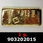Réf. 903202015 1 gramme d\'or pur (Lingot LSP)  Issu d un lingot good delivery de 1 kilo - REVERS