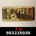 Réf. 903225030 1 gramme d\'or pur (Lingot LSP)  Issu d un lingot good delivery de 1 kilo - REVERS
