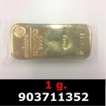 Réf. 903711352 1 gramme d\'or pur (Lingot LSP)  Issu d un lingot good delivery de 1 kilo - REVERS