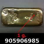 Réf. 905906985 1 gramme d\'or pur (Lingot LSP)  Issu d un lingot good delivery de 1 kilo - REVERS