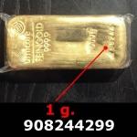 Réf. 908244299 1 gramme d\'or pur (Lingot LSP)  Issu d un lingot good delivery de 1 kilo - REVERS