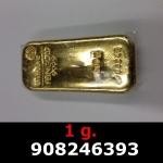 Réf. 908246393 1 gramme d\'or pur (Lingot LSP)  Issu d un lingot good delivery de 1 kilo - REVERS