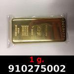 Réf. 910275002 1 gramme d\'or pur (Lingot LSP)  Issu d un lingot good delivery de 1 kilo - REVERS