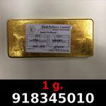 Réf. 918345010 1 gramme d\'or pur (Lingot LSP)  Issu d un lingot good delivery de 1 kilo - REVERS
