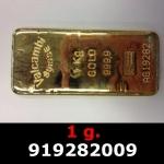 Réf. 919282009 1 gramme d\'or pur (Lingot LSP)  Issu d un lingot good delivery de 1 kilo - REVERS