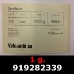 Réf. 919282339 1 gramme d\'or pur (Lingot LSP)  Issu d un lingot good delivery de 1 kilo - REVERS