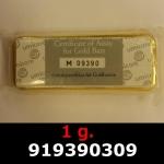 Réf. 919390309 1 gramme d\'or pur (Lingot LSP)  Issu d un lingot good delivery de 1 kilo - REVERS