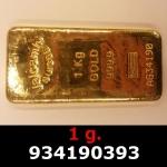 Réf. 934190393 1 gramme d\'or pur (Lingot LSP)  Issu d un lingot good delivery de 1 kilo - REVERS