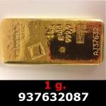 Réf. 937632087 1 gramme d\'or pur (Lingot LSP)  Issu d un lingot good delivery de 1 kilo - REVERS