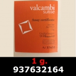 Réf. 937632164 1 gramme d\'or pur (Lingot LSP)  Issu d un lingot good delivery de 1 kilo - REVERS