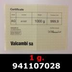 Réf. 941107028 1 gramme d\'or pur (Lingot LSP)  Issu d un lingot good delivery de 1 kilo - REVERS