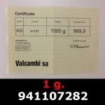 Réf. 941107282 1 gramme d\'or pur (Lingot LSP)  Issu d un lingot good delivery de 1 kilo - REVERS