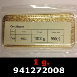 Réf. 941272008 1 gramme d\'or pur (Lingot LSP)  Issu d un lingot good delivery de 1 kilo - REVERS