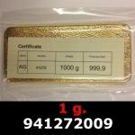Réf. 941272009 1 gramme d\'or pur (Lingot LSP)  Issu d un lingot good delivery de 1 kilo - REVERS