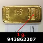 Réf. 943862207 1 gramme d\'or pur (Lingot LSP)  Issu d un lingot good delivery de 1 kilo - REVERS