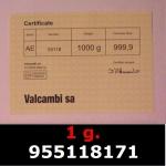 Réf. 955118171 1 gramme d\'or pur (Lingot LSP)  Issu d un lingot good delivery de 1 kilo - REVERS