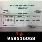 Réf. 958516068 1 gramme d\'or pur (Lingot LSP)  Issu d un lingot good delivery de 1 kilo - REVERS