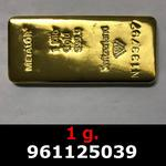 Réf. 961125039 1 gramme d\'or pur (Lingot LSP)  Issu d un lingot good delivery de 1 kilo - REVERS