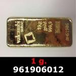Réf. 961906012 1 gramme d\'or pur (Lingot LSP)  Issu d un lingot good delivery de 1 kilo - REVERS