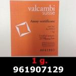 Réf. 961907129 1 gramme d\'or pur (Lingot LSP)  Issu d un lingot good delivery de 1 kilo - REVERS